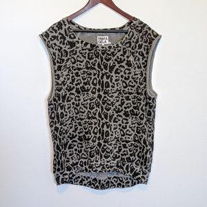 Pam & Gela Leopard Cap Sleeve Sweatshirt